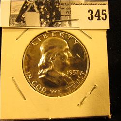 1957 P Franklin Silver Half Dollar, Proof.