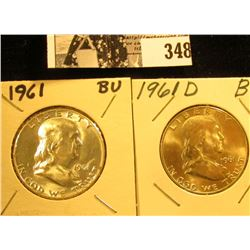 1961 P, & D Franklin Silver Half Dollars, all BU to Gem BU.