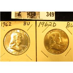 1962 P, & D Franklin Silver Half Dollars, all BU to Gem BU.