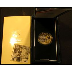 1953-1991 U.S. Korea War Commemorative Proof Silver Dollar in original box of issue with COA.