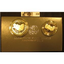 1991 Two-Coin Proof Set Mount Rushmore Anniversary Coins in original box of issue with COA.