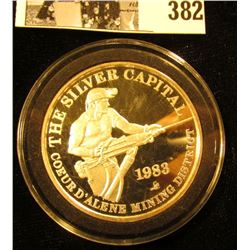 """""""The Silver Capital/Coeur D'Alene Mining District/1983"""", """"Sunshine Mining/One/Troy Ounce/.999 Fine S"""