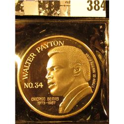 """""""Walter Payton/No.34/Chicago Bears/1975-1987/1 Troy Oz. .999 Fine Silver"""", """"Time NFL Rushing Leader/"""