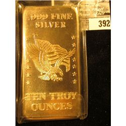 """.999 Fine Silver Ten Troy Ounces. """"Minted From U.S. Strategic Stockpile Foremerly Stored At U.S. Ass"""