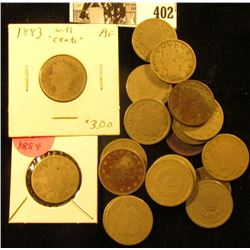1883 With Cents, 1884, (3) 1890, 1891, (2) 1895, & (11) 1907 Liberty Nickels. Average circulated.