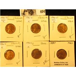 (5) 1936 S & (1) 39 P Lincoln Cents, all Red Brilliant Uncirculated.