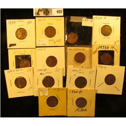 1929 P Red Brown AU, & (2) 1931D, (3) 32D, (2) 33P, & (6) 33D Circulated Lincoln Cents.