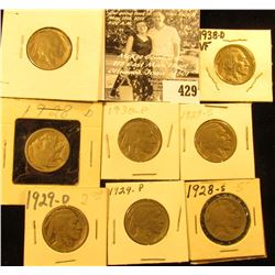 1928P, D, S, 29P, D, S, 30P, & 38D  Buffalo Nickels,  all carded with grades up to VF.