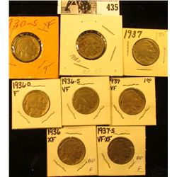1930S, 36P, D, S, 37P, D, S, & 38D Buffalo Nickels,  all carded with many grading up to VF-EF.