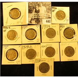 1929P, D, S, 30S, 34P, D. 36P, S, 37P, & D Buffalo Nickels,  all carded with grades up to VF-EF.
