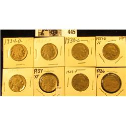 1929P, S, 30S, 34P, D. 36P, 37P, & D Buffalo Nickels,  all carded with grades up to VF-EF.