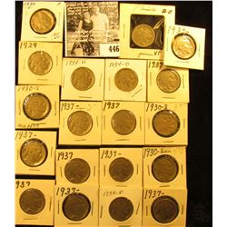 1929P, (5) 30S, (3) 34D, & (10) 37P Buffalo Nickels,  all carded with grades up to VF-EF.