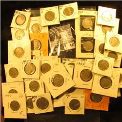 (3) 1929S, (10) 30S, (6) 34P, (7) D, (2) 36P, (13) 37P, & (2) 37D Buffalo Nickels, all carded with g