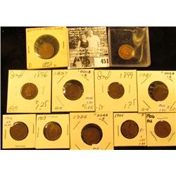 Group of Carded Indian Head Cents: 1892, 93. 96, 97, 99, 1901, 02, 03, 04, 05, & 06. Grades up to Br