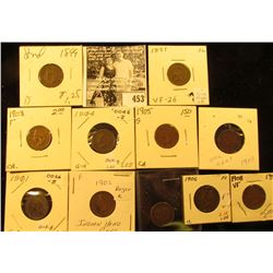 Group of Carded Indian Head Cents: 1893, 97, 99, 1901, 02, 03, 04, 05, 06, 07, & 08. Grades up to Ve