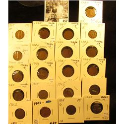 Group of Carded Indian Head Cents: (2) 1902, 03 EF, (3) 04, (7) 05, (6) 06, 07, & 08. Grades up to E