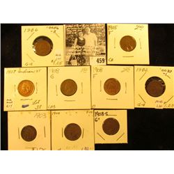 Group of Carded Indian Head Cents: 1902, 03, 04, 05, 06, 07, (2) 08, & 1908 S G+. Grades up to EF.