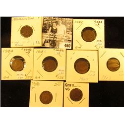Group of Carded Indian Head Cents: 1902, 04, 05, 06, (2) 07, 08, & 08 S VG.