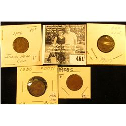 Group of Carded Indian Head Cents: 1906 VG, 07 G+, 08 Good, & 1908 S Fine.