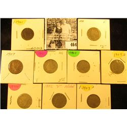 1898, 1901, 02, 03, 04, 05, 06, 07, & 11 U.S. Liberty Nickels in carded holders.