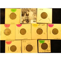 1898, 1901, 02, 03, 04, 05, 11, 12P, & 12D U.S. Liberty Nickels in carded holders.