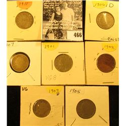 1901. 02, 03, 05, 06, 07, & 11 U.S. Liberty Nickels in carded holders.