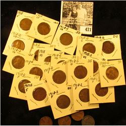 1917 S, (4) 1918 P, (8) 18 D, (7) 18 S, 40D, 41S, 43P, & 67P Lincoln Cents, grades up to AU. Most of