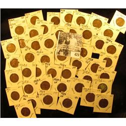 (4) 1921P, 23P, (6) 28P, (7) D, (9) S, (9) 29P, (5) D, & (7) S Lincoln Cents. Lots of Fines to EF. A