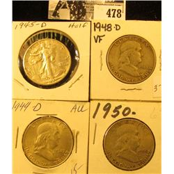 1945 D VF, 48 D VG, 49 D EF, & 50 P VG U.S. Silver Half Dollars. All carded and ready for sale.