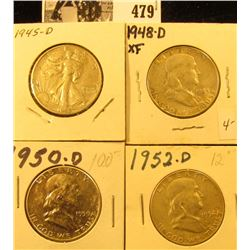 1945 D VF, 48 D EF, 50 D AU 55, & 52 D AU U.S. Silver Half Dollars. All carded and ready for sale.