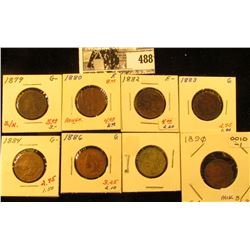 1879, 1880, 1882, 1883, 1884, 1886, 1889, & 1890 Indian Head Cents. Grades AG-Fine. All carded and r