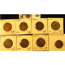 1879, 1880, 1882, 1883, 1884, 1886, 1889, & 1890 Indian Head Cents. Grades AG-Very Fine. All carded