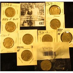 1929P, S, 30P, S, 34P, D. 36P, S, 37P, & D Buffalo Nickels,  all carded with grades up to VF-EF.
