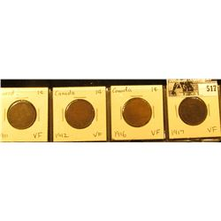Lot of Canada Large Cents: 1911, 12, 16, & 17. All grading VF.
