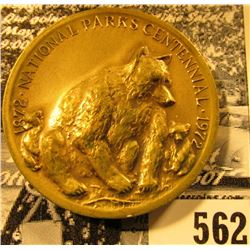 1972 National Parks Centennial, Sequoia National Park, high relief, Bronze Medallion, edge lettered