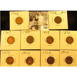 1888, 90, 95, 1900, 01, 05, (3) 06, & (2) 07 Indian Head Cents in carded holders. All Good to VG.