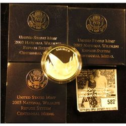 "(3) 2003 ""Salmon"" National Wildlife Refuge Centennial Medal in original box with literature, 1.5"" di"