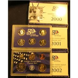 2000 S, 2001 S, & 2002 S U.S. Proof Sets, Original as issued.