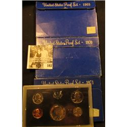 1969 S, 70 S, & 71 S U.S. Proof Sets. Original as issued.