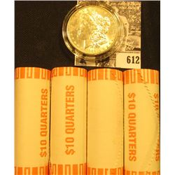 (4) 2001 D Original BU Bank-wrapped Rolls of Vermont Statehood Quarters; & 1889 P BU Morgan Silver D