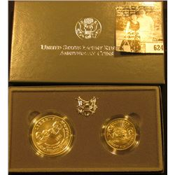 1991 Two-Coin Uncirculated Set of Mount Rushmore Anniversary Coins in original box with literature.
