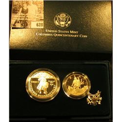 """1992 Two-Coin Proof Set """"The Columbus Quincentenary Coins"""" in orginal box with COA."""