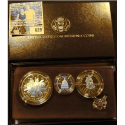 1989 Three-Coin Proof Set United States Congressional Coins in original box of issue with literature