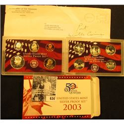 2003 S U.S. Silver Proof Set in original box with both error and corrected COA, as well as the origi