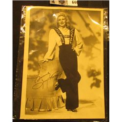 """5"""" x 7"""" Autographed B & W Photograph of Ginger Rogers, signed """"Sincerely Ginger Rogers""""."""