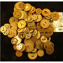 Large group of unsorted Transportation Tokens.