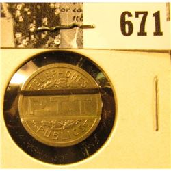 "1937 Republique Francaise, ""Telephones/P.T.T./Publics"", French partial slotted Token, AU, 18mm."