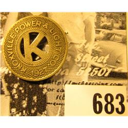 """1927/Knoxville Power & Light Co."", ""Good For/One Fair"", (Iowa Transportation Token)."