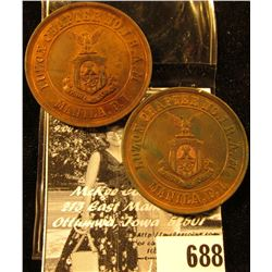 "Pair of ""Luzon Chapter No. 1 R.A.M/Manilla, P.I."", ""One Penny"", Red-Brown Uncirculated, 35mm. I have"