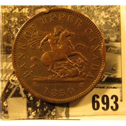 1850 Bank of Upper Canada One Penny, VF with rim bruises.